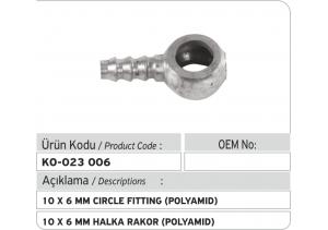 10 x 6 mm Halka Rakor (polyamid)