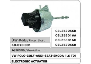 VW Polo-Golf-Audi-Skoda-Seat 1.6 TDI Turbocharger Electronic Actuator