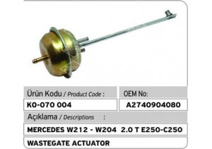 Mercedes W212-W204 2.0 T E250-C250 Turbocharger Wastegate Actuator