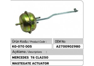 Mercedes T6 CLA250 Turbocharger Wastegate Actuator
