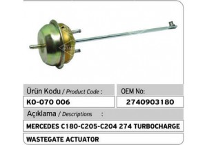 Mercedes C180-C205-C204-274 Turbocharger Wastegate Actuator