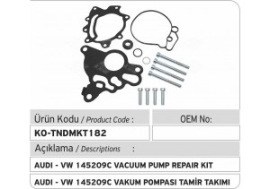AUDI - VW F00D00069=03G145209C Tandem Vakum Pompası Tamir Takımı