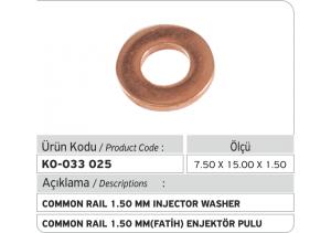 1.50 mm Common Rail Enjektör Bakır Pul
