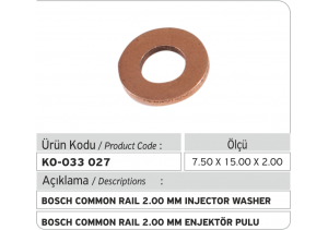2.00 mm Common Rail Enjektör Bakır Pul