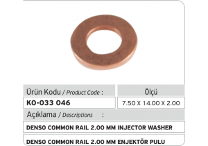 2.00 mm Denso Common Rail Enjektör Pulu (7.50 x 14.00 x 2.00 mm)