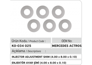 Enjektör Ayar Şimi (4.00X8.00X0.10 mm)