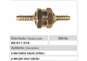 6 MM Çek Valf (Çelik)